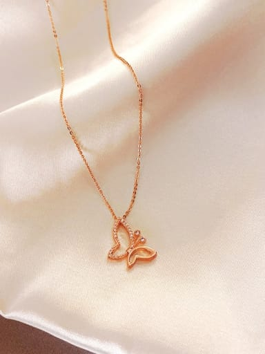 Zinc Alloy Rhinestone White Butterfly Trend Necklace
