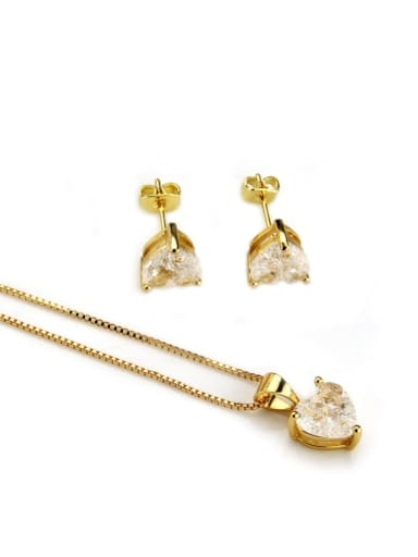 Gold plated white zircon Brass Heart Cubic Zirconia Earring and Necklace Set