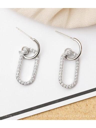 White K Copper Rhinestone Locket Minimalist Drop Earring