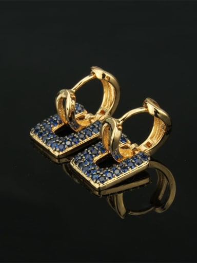 Gold Plated Blue Zircon Brass Cubic Zirconia Square Luxury Huggie Earring