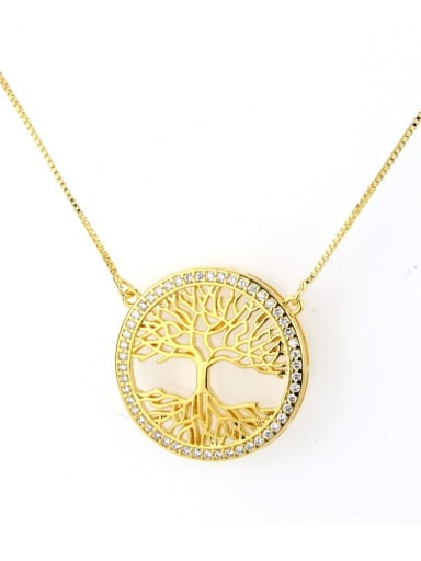 Brass Cubic Zirconia Round Dainty Initials Necklace