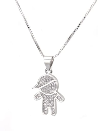 Platinum plating Brass Cubic Zirconia boy and girl Cute Necklace
