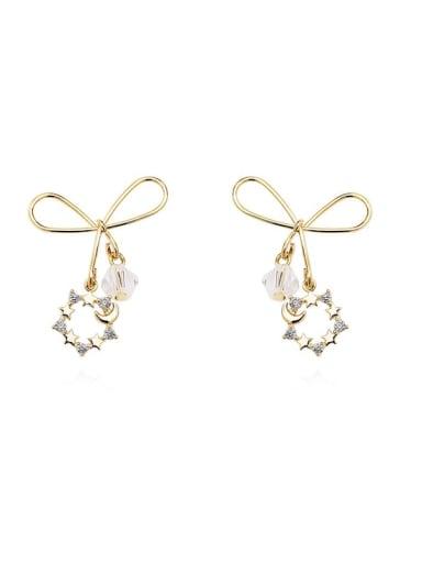Copper Cubic Zirconia Bowknot Minimalist Stud Earring