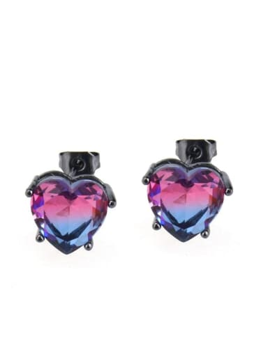 Two color black plating Brass  Cubic Zirconia Heart  Earring and Necklace Set
