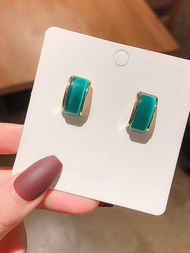 Silver needle. (real gold) green Alloy Cats Eye Geometric Minimalist Stud Earring