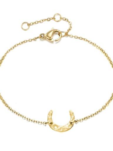 golden Stainless steel Moon Minimalist Link Bracelet