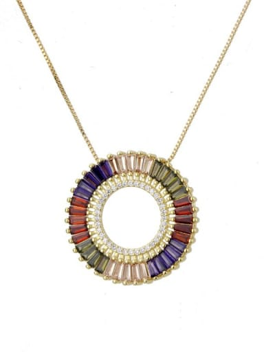Brass Cubic Zirconia Multi Color Round Dainty Necklace