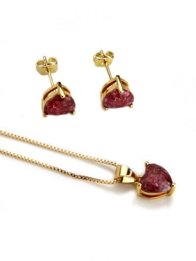 Gold Plated Red zircon Brass Heart Cubic Zirconia Earring and Necklace Set