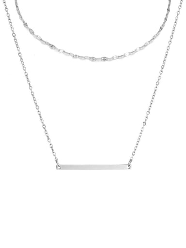 Stainless steel rectangle Minimalist Necklace