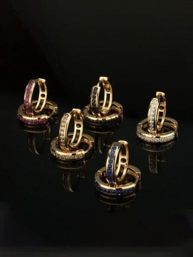 Brass Cubic Zirconia Round Dainty Hoop Earring