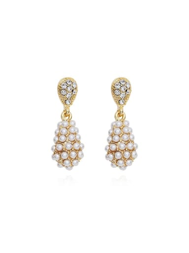 14K gold Copper Imitation Pearl Water Drop Dainty Drop Earring