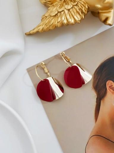 claret Copper Enamel Geometric Minimalist Huggie Earring