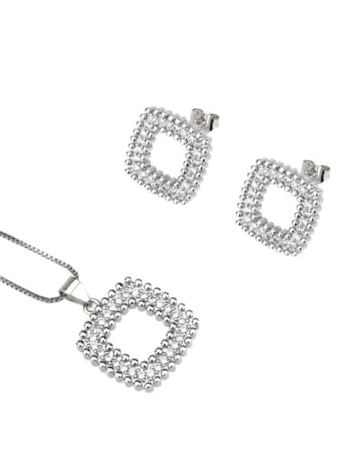 Platinum plating Brass Rhinestone  Minimalist Square Earring and Necklace Set