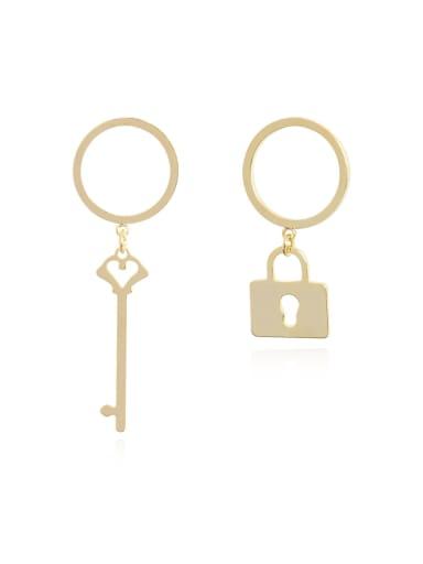Copper Minimalist Asymmetric key lock Drop Earring