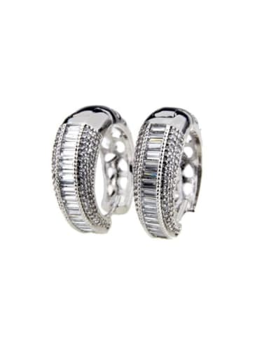 Platinum plating Brass Cubic Zirconia Round Luxury Hoop Earring