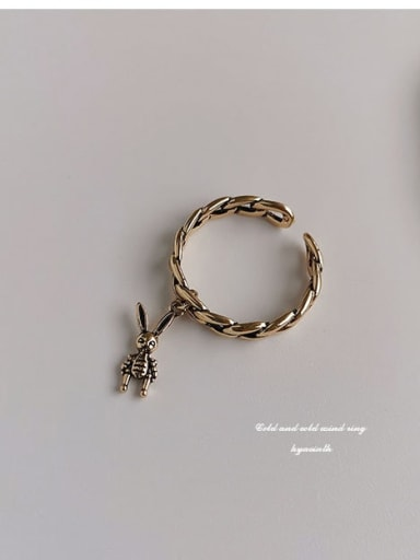 Ancient gold Copper  Retro Hollow chain rabbit  Free Size Band Ring