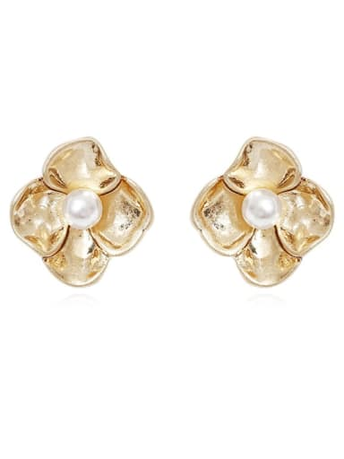 Copper Imitation Pearl Flower Vintage Stud Earring