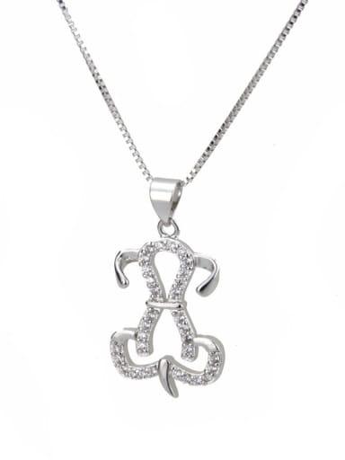platinum Brass Cubic Zirconia Dog Dainty Necklace