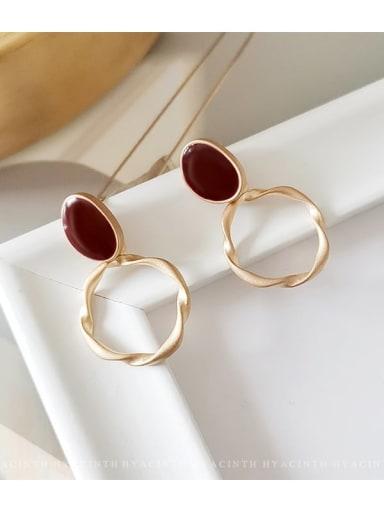 Dumb gold and dark red Copper Enamel Geometric Minimalist Drop Earring