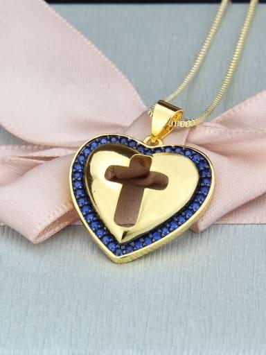 Gold Plated blue zirconium Brass Cubic Zirconia Heart Minimalist Regligious Necklace