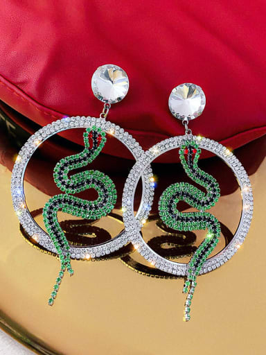 Mixed Metal Rhinestone White Round Trend Drop Earring