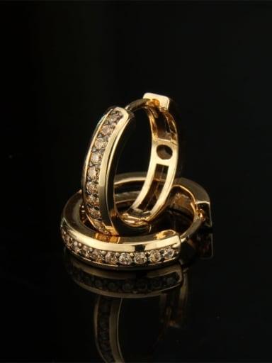Gold Plated zircon Brass Cubic Zirconia Round Dainty Hoop Earring