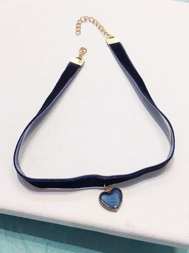 Blue love Zinc Alloy Blue Ball Classic Choker Necklace