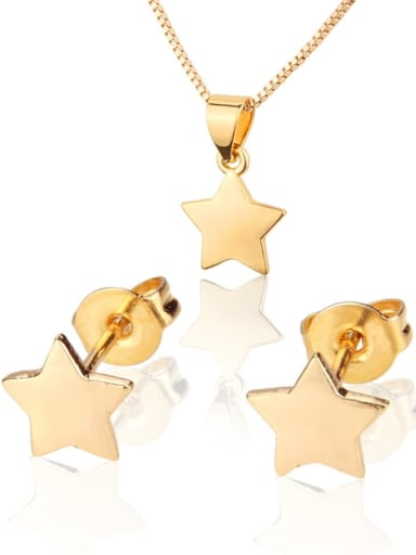 Brass Star Earring and Necklace Set