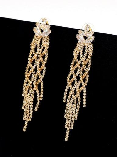 18K gold Copper Cubic Zirconia Tassel Luxury Cluster Earring