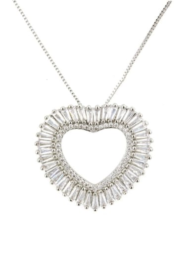 White Gold Pendant Brass Cubic Zirconia Heart Dainty Necklace