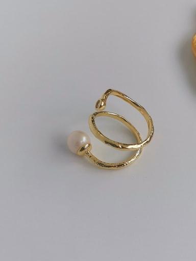 Copper Imitation Pearl Geometric Minimalist Free Size Band Ring