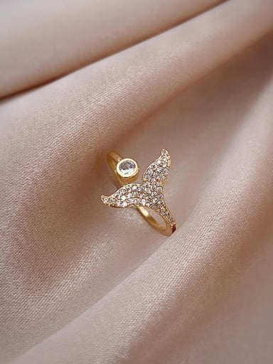 Copper Cubic Zirconia White Fish Trend Band Ring/Free Size Ring