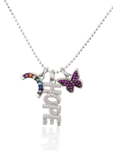 Color zirconium plated with platinum Brass Rhinestone Letter Dainty Butterfly pendant Necklace