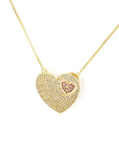 Gold plated white zircon Brass Cubic Zirconia Heart Dainty Necklace