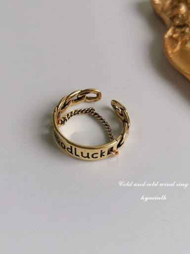 Ancient gold Copper Letter-GOODLUCK Vintage Band Ring