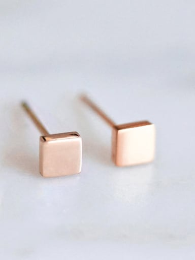 rose gold Stainless steel Square Minimalist Stud Earring
