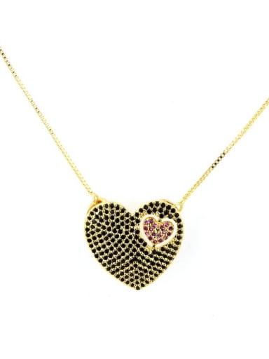 Gold Plated Black zircon Brass Cubic Zirconia Heart Dainty Necklace