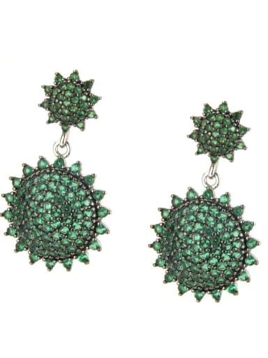 Platinum plated green Brass Cubic Zirconia Geometric Vintage Drop Earring
