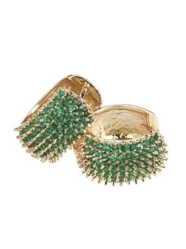 Large gold-plated zircon Brass Cubic Zirconia Round Minimalist Hoop Earring