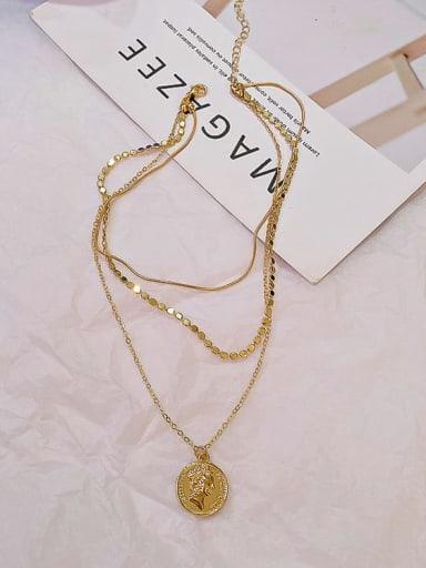 Zinc Alloy Locket Minimalist Multi Strand Necklace