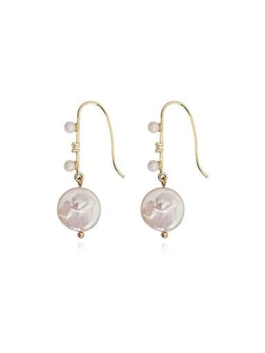 Copper Freshwater Pearl Geometric Minimalist Hook Earring