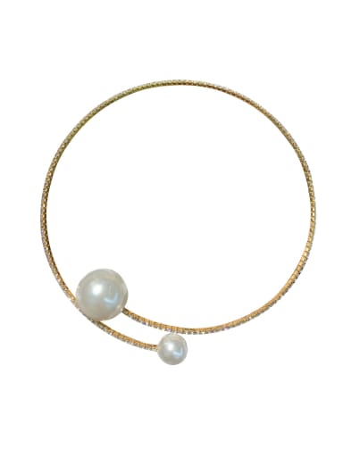 Zinc Alloy Imitation Pearl White Geometric Trend Choker Necklace
