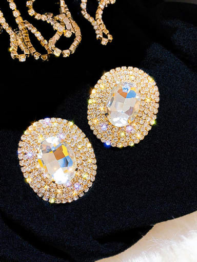 gold Alloy Cubic Zirconia Round Statement Cluster Earring