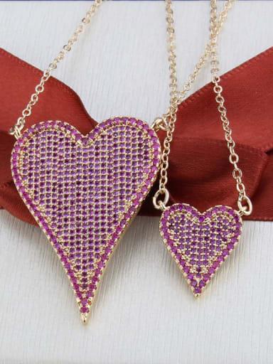 Gold Plated Red zirconium Brass Cubic Zirconia Heart Luxury Multi Strand Necklace