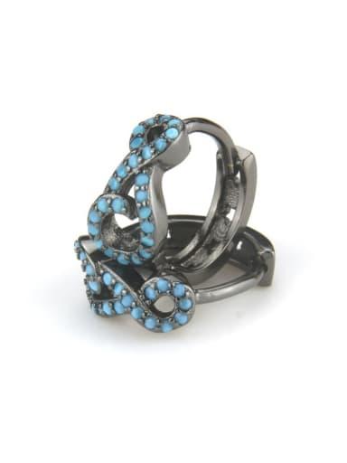 XXED 219 Brass Rhinestone Geometric Vintage Huggie Earring