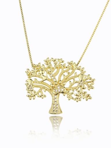 Brass Cubic Zirconia Tree Vintage Necklace