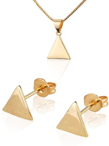 Brass Triangle Earring and Necklace Set