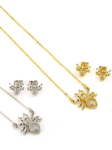 Brass  Cubic Zirconia Insect Earring and Necklace Set
