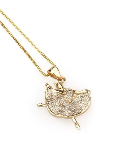 Brass Cubic Zirconia Angel Dainty Necklace
