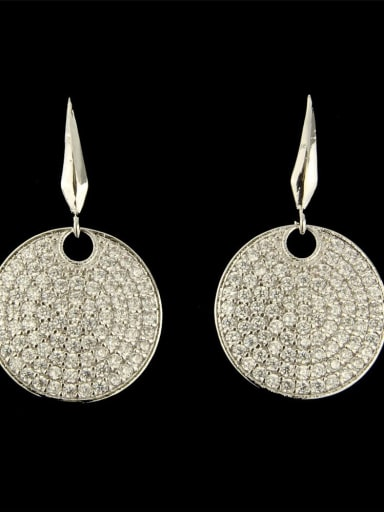 Platinum plated white Brass Cubic Zirconia Round Dainty Hook Earring